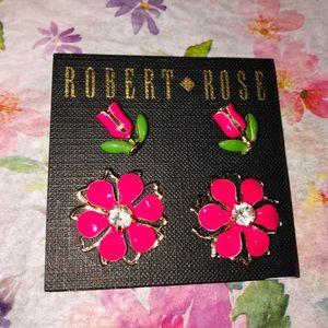 🌸 NWT (Two) Pink Flower Crystal Stud Earrings